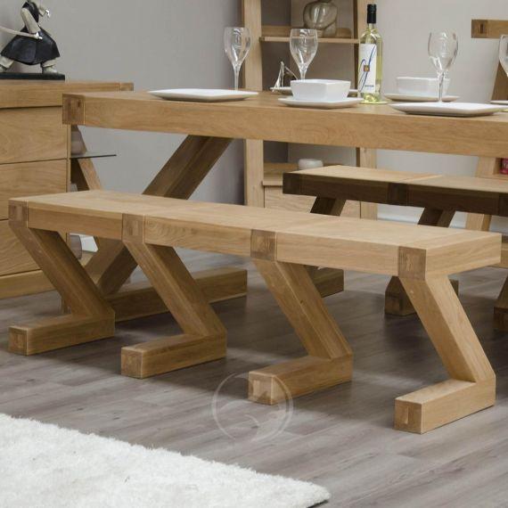 Z Shape Solid Oak Large Bench
