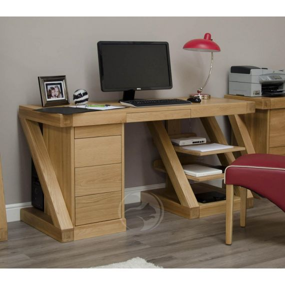 Z Shape Solid Oak Large Computer Desk