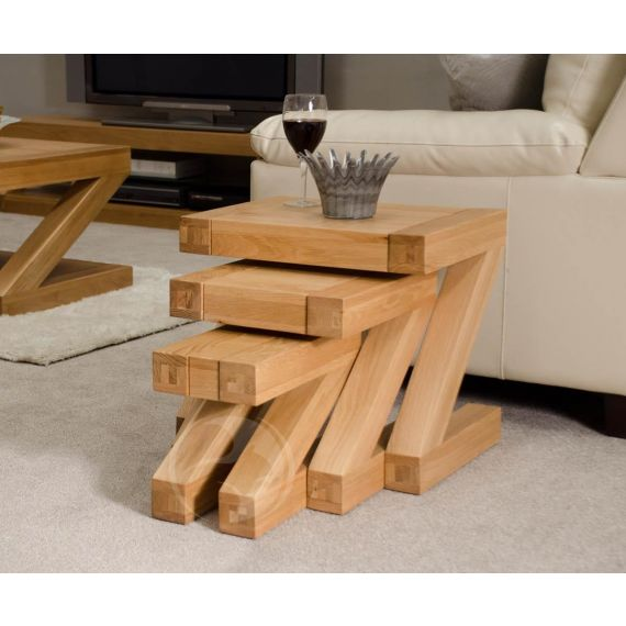 Z Shape Solid Oak Nest of Tables