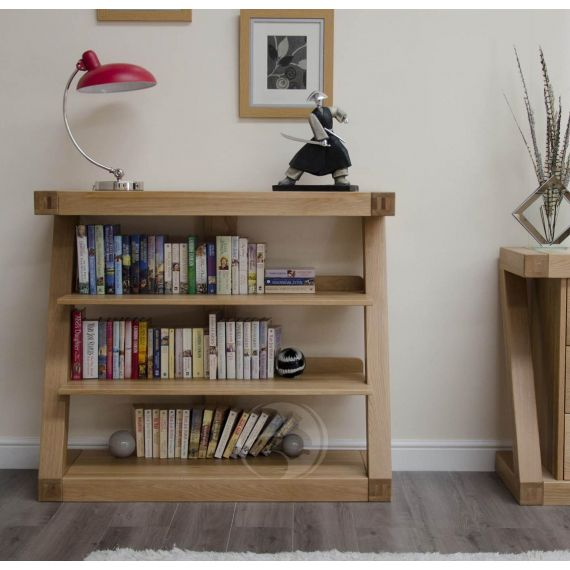 Z Shape Solid Oak Small Bookcase