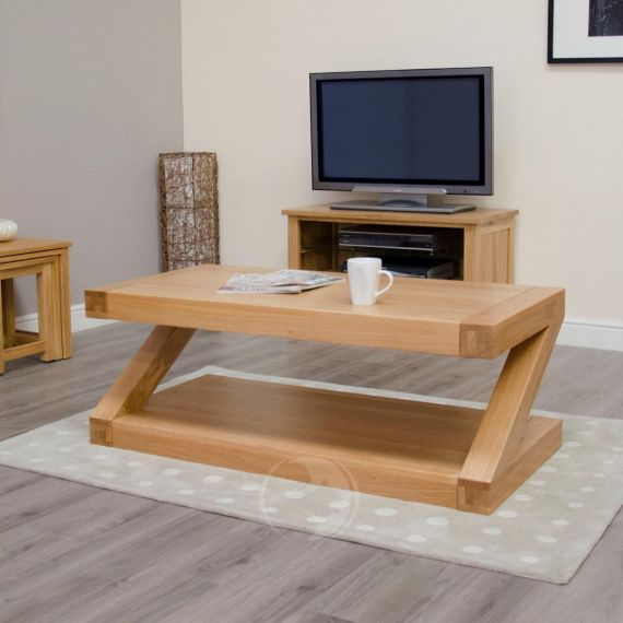 Z Shape Solid Oak Large Coffee Table