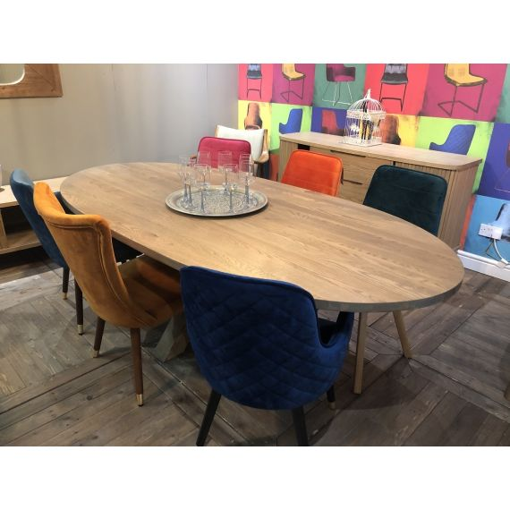 Barkington Solid Oak Oval Dining Table with Double Cross Leg Pedestal - Grey Oiled Finish