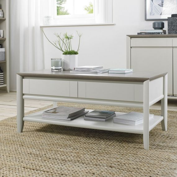Bergen Grey Washed Oak & Soft Grey Coffee Table with Drawers