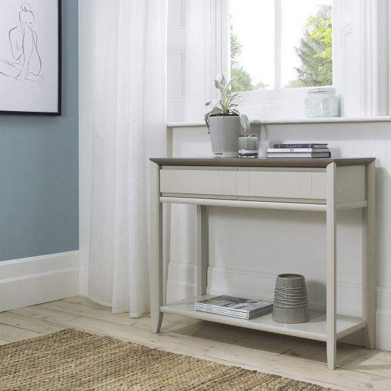 Bergen Grey Washed Oak & Soft Grey Console Table with Drawers
