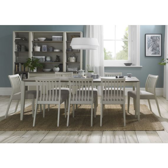 Bergen Grey Washed Oak & Soft Grey Large Extending Dining Table
