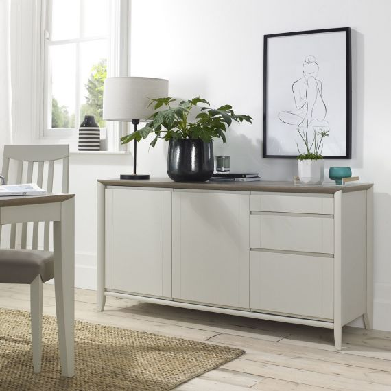 Bergen Grey Washed Oak & Soft Grey Large Sideboard