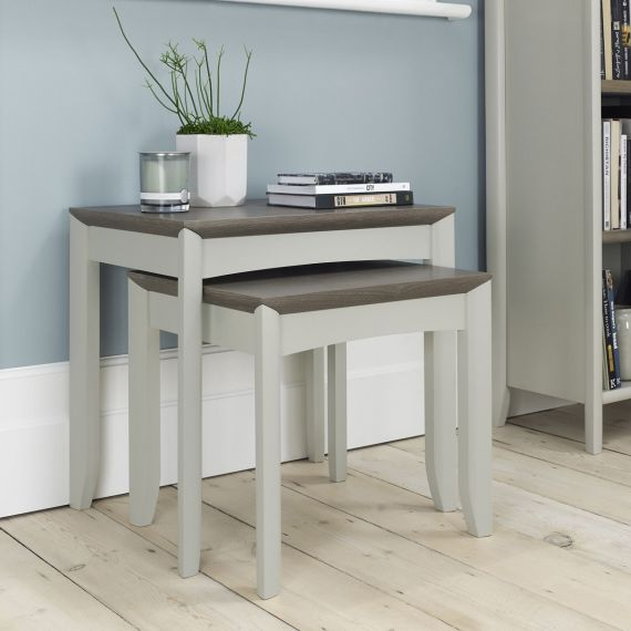 Bergen Grey Washed Oak & Soft Grey Nest of Tables