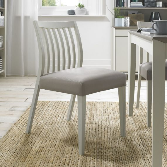 Bergen Soft Grey Low Slat Back Dining Chair - Grey Leather (Pair)