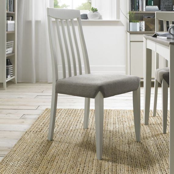 Bergen Soft Grey Slat Back Dining Chair - Titanium Fabric (Pair)