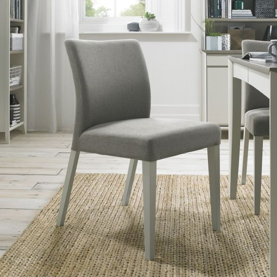Bergen Soft Grey Upholstered Dining Chair - Titanium Fabric (Pair)