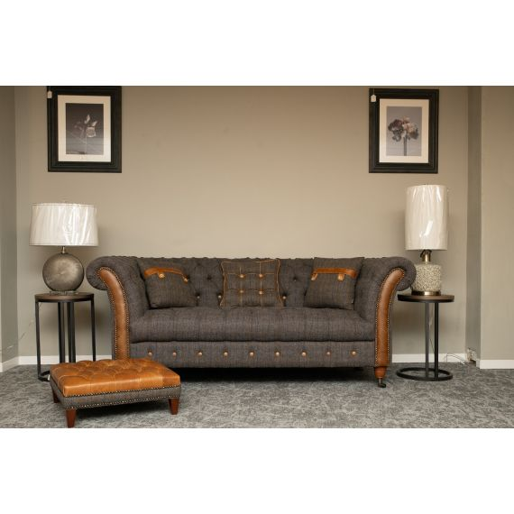 Chester Club 2 Seater Chesterfield Sofa Harris Tweed and Leather Fast Track