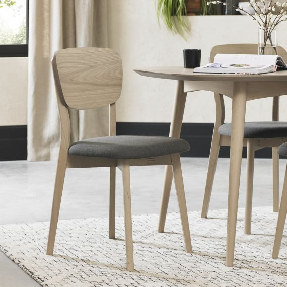 Dansk Scandi Oak Dining Chair - Cold Steel Fabric (Pair)