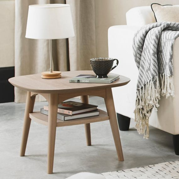 Dansk Scandi Oak Lamp Table with Shelf