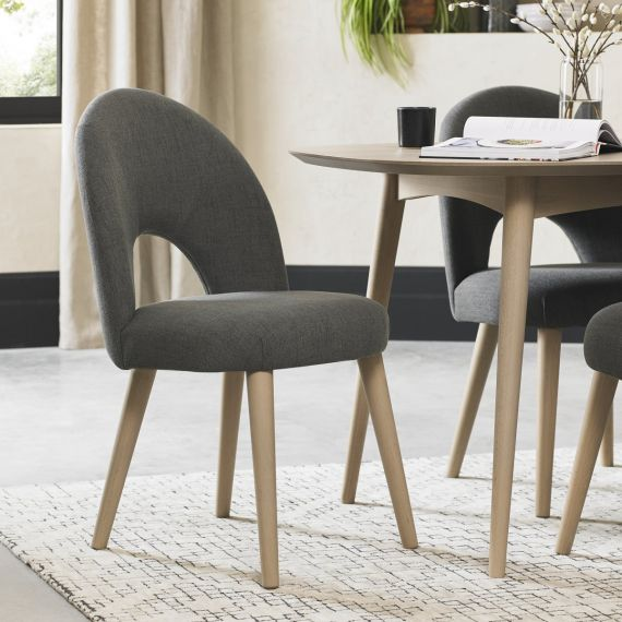 Dansk Scandi Oak Upholstered Dining Chair - Cold Steel Fabric (Pair)