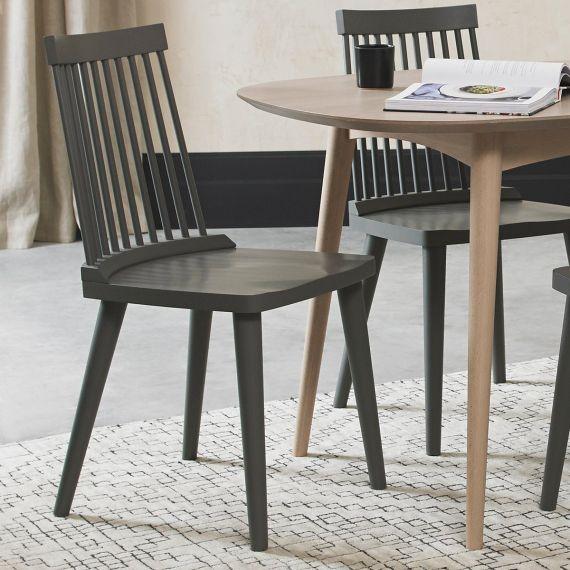 Spindle Dining Chair - Dark Grey (Pair)