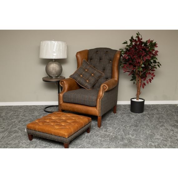 Wing Back Armchair Moreland Harris Tweed and Brown Leather