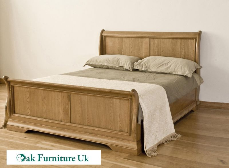 French Style Solid American Oak 5 King Sleigh Bed Oak Furniture Uk